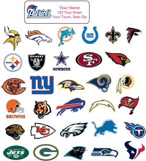 Personalized NFL TEAM ADDRESS LABELS   YOU CHOOSE TEAM   Buy ANY 5