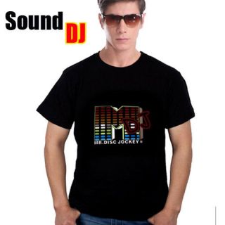 DJ shape LED Light EL Music T Shirt M/L/XL/2XL Mens Equalizer