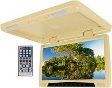 TN 17 Beige/Tan Wide Screen Flip Down Monitor USB/SD DVD Player