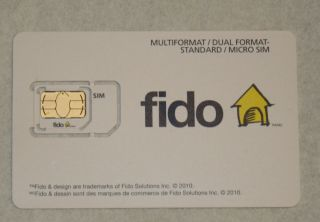 NEW Fido Micro / Standard Dual Format Sim Card for 3G GSM