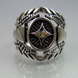 VINTAGE BIKER STAINLESS STEEL CROSS WIDE MENS RING