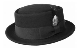 NEW UNISEX SOLID COLOR PORK PIE HAT / WOOL FELT HAT WITH FEATHER