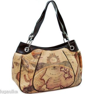 New Tote Large purse Shoulder bag w/chained in strap World map print