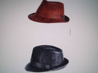 LADIES QUALITY LEATHER TRILBY PORK PIE HAT BLACK . BROWN 57 60CM