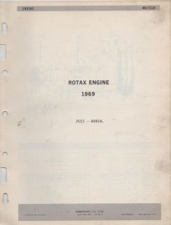 1969 BOMBARDIER SKI DOO ROTAX ENGINE PARTS MANUAL 292cc