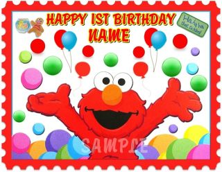 SESAME STREET ELMO FOR 1ST OR ANY AGE BIRTHDAY EDIBLE CAKE TOPPER