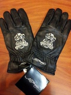 Ed Hardy by Christian Audigier Embroidered Graphic Leather Men Gloves