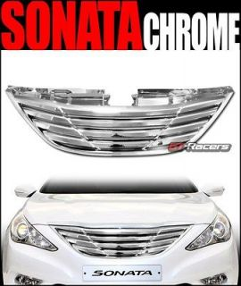 CHROME HORIZONTAL STYLE FRONT BUMPER CENTER HOOD GRILL GRILLE ABS 10