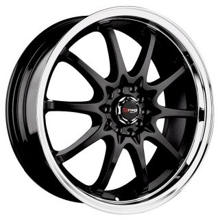 15 DRAG DR9 BLACK WHEELS RIMS DODGE NEON LANCER ELANTRA