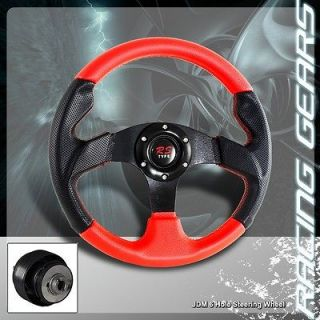 89 98 Nissan Maxima Black&Red PVC Leather Black Spoke 320mm Steering