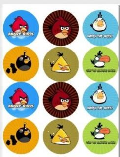 ANGRY BIRDS   Edible Photo Cup Cake Toppers   12 per set   $3.00