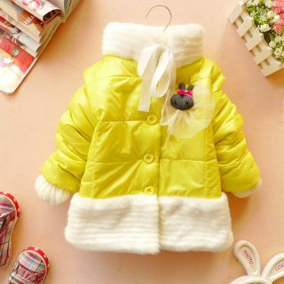 SALE baby girl clothes winter coat kids yellow blue jacket choker gown
