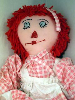 COLLECTIBLE LARGE ORIGINAL HANDMADE RAG DOLL Raggedy Ann 22 Pink