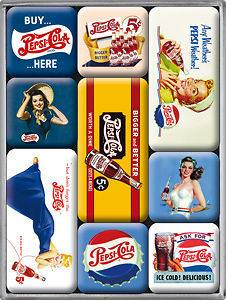 Pepsi Cola set of 9 mini fridge magnets (na) from England