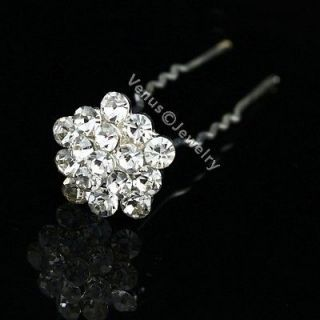 Pcs Star Flower Bridal Wedding Prom Crystal Rhinestone Hair Pins H78
