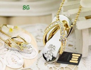 8GB 8G Swarovski element Crystal Slipper Necklace USB Flash Drive