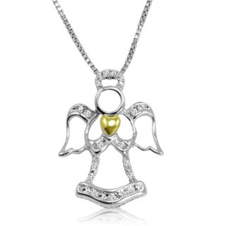 Sterling Silver and 14K Gold Diamond Angel Heart Necklace