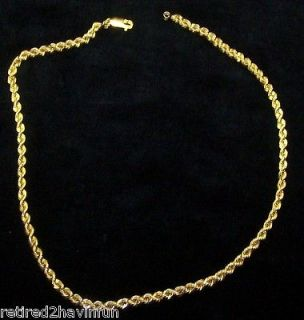 30.00g Solid 14k Gold Tri Mens Diamond Cut Necklace Rope Chain 22 4