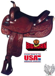 Big Horn 16 Tooled Draft Horse Saddle with Suede Padded Seat