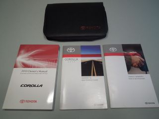 2010 Toyota COROLLA Owners Manual SET EXCELLENT W/CASE
