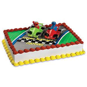 ELMO Cookie MONSTER Car Racers Sesame Street Party Cake Decoration