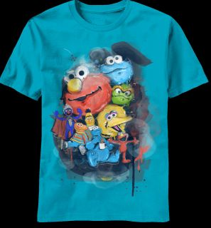 NEW Sesame Street Elmo Big Bird Characters Vintage Graffiti Look T