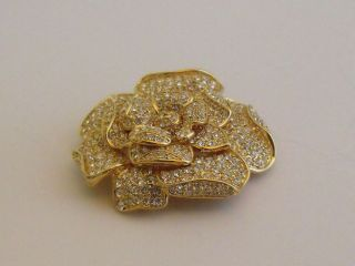 Clear Rhinestone Flower Brooch Nolan Miller Layered Petals Gold Tone