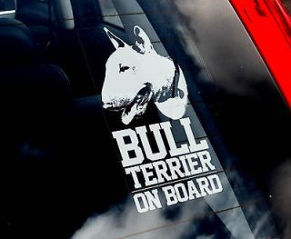 English Bull Terrier   Dog Car Sticker  Sign   n.collar