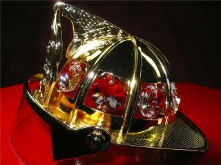 FIRE FIGHTER HELMET   24K GOLD PLATED AUSTRIAN CRYSTAL FIRE FIGHTER