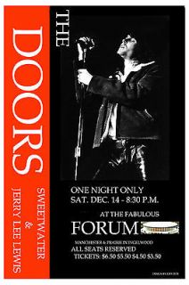 ROCK Jim Morrison & The Doors at The Forum in L.A. Concert Poster
