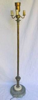 1930s Torchiere Candelabra Floor Lamp Art Deco Regency Marble Base