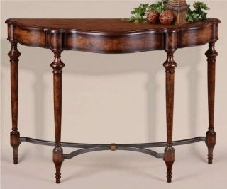 ENGLISH WALNUT BURL WOOD & IRON ENTRY HALL ACCENT SOFA CABINET BUFFET