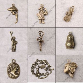 Vintage Lot Antique Brass Bronze Human Jewelry Findings Charms