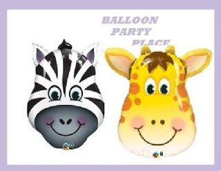 PARTY baby shower decorations jungle safari ZEBRA GIRAFFE BALLOONS
