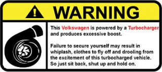 Volkswagen Turbo Warning decal sticker gti passat scirocco golf beetle