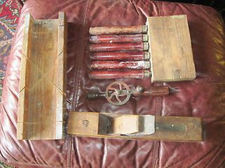 Antique 10 pc Woodworking Tool Set LARGE Plane Drill 6 Chisels Set
