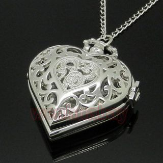 Silver Color Heart Shape Pocket Watch Necklace Pendant Chain Girls