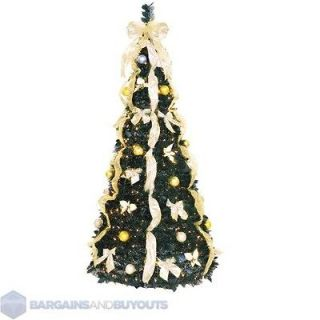 Pre Decorated PullUp Christmas Tree Champagne/Gold 353585