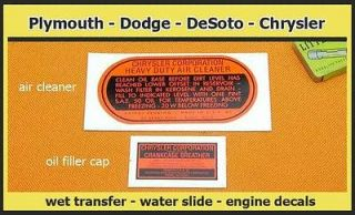 1940s Chrysler Plymouth DeSoto Dodge Truck Mopar Engine Decals 1950s