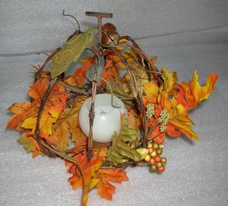 Wire Metal Pumpkin Fall Autumn Leaves LED Candle New