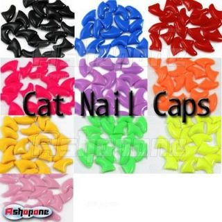 20pcs Soft Nail Caps For Cat Claws Control Paws off + Adhesive Glue