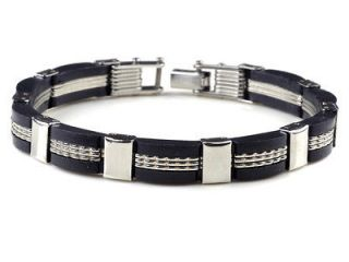 NEW Silver men Stainless steel Chain Bracelet black Rubber bangle link