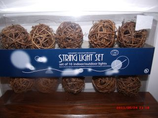 10 TWIGS BALL PARTY STRING LIGHT SET PATIO GARDEN POOL XMAS INDOOR