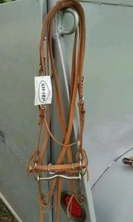 slip ear headstall bridle light leather w/bit @ split reins Horse set