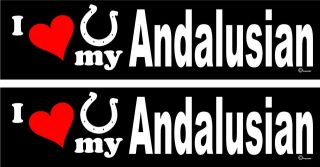 love my Andalusian Horse trailer bumper stickers decals LARGE 3