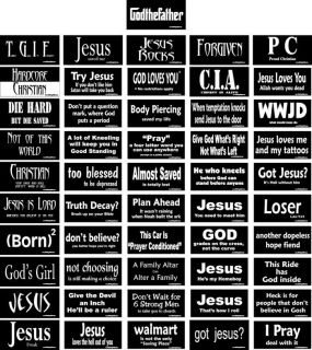 Christian Bumper Sticker Religious Decal Set of 51