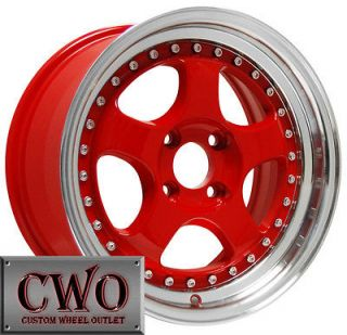 15 Red Konig Candy Wheels Rims 4x100 4 Lug Civic Mini Miata G5 Cobalt