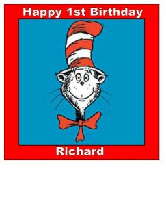 Cat In the Hat 7.5 square edible icing cake topper