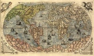 1565 Historic Large World Map Decorative Print   14x24