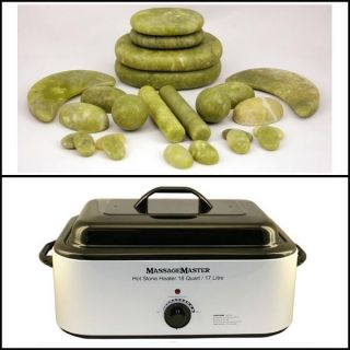 HOT STONE KIT 24 Green Jade Stones + 18 Quart Hot Stone Heater